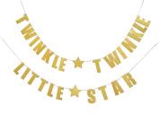 Fecedy Letters Twinkle Twinkle Little Star Glittery Gold Banner