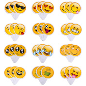 Aresmer 36Pcs Cute Emoji Cupcake Topper Baking Cake Decoration Birthday Party Decor