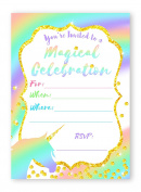 Unicorn Pastel LARGE Invitations Rainbow Party Invitations - 10 Invitations + 10 Envelopes