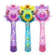 Girls Cartoon Magic Stick Princess Electronic Automatic Bubble Maker Machine Toy Party Toy W/ Light Music