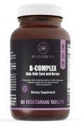 Vitamin B Complex - Hypoallergenic Veggie tabs - 60 Tabs - Healthy Skin Hair Nails, Eyes, Nerves + Energy - Extra Strength B1, B2, B3, B5, B6, B12, Biotin, Folic Acid with 1000mg of Whole SuperFoods