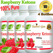4 Raspberry Ketones 1000mg 100% Pure - 240 Capsules - All Natural Weight Loss Supplement, Max Strength Plus Appetite Suppressant Diet Pills, Premium Lean Health Extract to Boost Energy & Metabolism