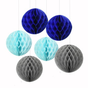 6PCS Mixed Royal Blue Light Blue Tissue Paper Honeycomb Ball Boy Baby Shower Birthday Wedding Party Nursery Mobile Hanging Decoration