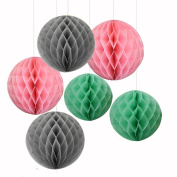 6PCS Mixed Pink Grey Mint Tissue Paper Honeycomb Ball Girl Birthday Baby Shower Wedding Party Nursery Mobile Hanging Decoration