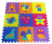 9 Pcs Cute Animal EVA Foam Play Mats Floor Puzzle Crawling | Play Mat for Toddlers Kids Children | Interlocking | Bright Colour by DURSHANI