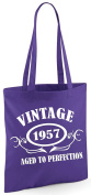 VINTAGE 1957 AGED TO PERFECTION 60th Birthday Present Tote Bag - Edward Sinclair Shoulder Bag