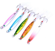 Aorace 5pcs/lot fishing metal lure Lead Fish hook with feather Crankbaits Bass 7g/10g/14g/17g/21g/28g