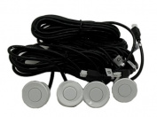 4X Silver Parking Sensors LED Display Car Auto Backup Reverse Radar System Alarm Kit