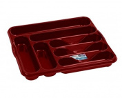 Chilli Red Large 7 Compartment Plastic Cutlery Draw Tray 42cm x 37cm by Wham