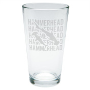 Hammerhead Shark Stack Repeat Etched Pint Glass Clear Glass Standard One Size