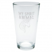 Unicorn Is My Spirit Animal Etched Pint Glass Clear Glass Standard One Size