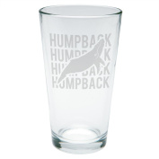 Humpback Stack Repeat Etched Pint Glass Clear Glass Standard One Size