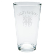What's Kraken Octopus Squid Etched Pint Glass Clear Glass Standard One Size