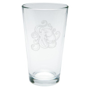 Octopus Tattoo Etched Pint Glass Clear Glass Standard One Size