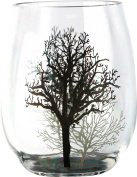 Corelle Coordinates by Reston Lloyd Acrylic Stemless Wine Glasses, Set of 4, Timber Shadows, 470ml, Clear