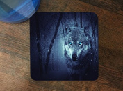 Blue Eyes Wolf Wolves in the Snow Silicone Drink Beverage Coaster 4 Pack by Moonlight Printing