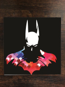 Bat Man Hero Silhouette Image Design Print Pattern One Piece Premium Ceramic Tile Coaster 11cm x 11cm Square Drink Protection for Coffee Tables by Trendy Accessories