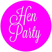 Hen Party labels neon pink with white writing