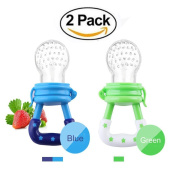 Fresh Food Feeder Pacifier (2 Pack) Nibbler baby Fruit Mesh Feeder Teething Toy Silicone Pouches for Toddlers & Kids