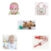 2 Headbands for Baby and Girls (Pink) | 2 Dummy Soothers with Holder Clip Chain | Infant Pacifier with Giraffe Toy for Baby Dummy | 2 Cute Newborn Baby Bibs