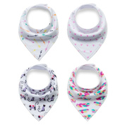 Refosian Baby Bandana Drool Bibs Set 4-Pack Unisex Absorbent Cotton