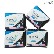 VLOVE Imported Super Absorbent Polymer Anion Sanitary Pads for Night Use 4packs