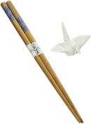 Happy Sales 5 Pairs White Crane Rests and Sashiko Design Chopsticks by Happy Sales