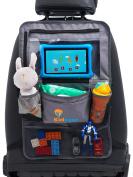 Car Seat Organiser Kick Mat Grey Multi Pocket Touch Screen iPad Tablet Holder By Kidease Travel Gear