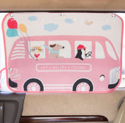 tokkids – Tendon Side Sunshade for Car, Blocks 99% of the Solar Rays, Protects the Eyes and the skin of children, Adjustable Size, 70 * 50 CM Drawing Minibus Pink