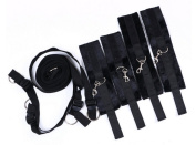 XS Lifestyle Bed Restraint System with Durable Ankle and Wrist Fur Cuffs, Bonus Eye Mask Included! Fits Almost Every Mattress. Variety of Colours!