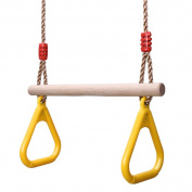 GHB Children Trapeze Swing Bar with Rings Wooden Playset with Plastic Rings Gym Rings for Kids