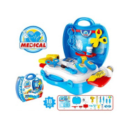 Buyger 18 Pcs Plastic Pretend Play Nurse Doctors Toy Medical Tools Play Set Role Play Suitcase for Gift Kids Children