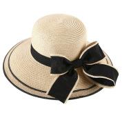 HugeStore Elegant Wide Brim Bowknot Summer Beach Straw Hat Sun Hat Cap for Women Laides