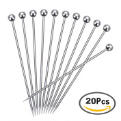 Satinior Stainless Steel Cocktail Picks Fruit Stick Toothpicks, 11 cm, 20 Pieces