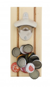 G. Francis Magnetic Beer Bottle Opener with Magnetic Cap Catcher in Natural Finish