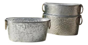 Beverage Party Tubs for Drinks or Galvanised Tub Planter, Oval Assorted Tubs with Metal Handles - One Per Order