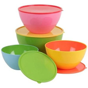 Set of 4 Salad Bowls/salad bowl plastic mixing bowl with lid Cook bowl fruit bowl Storage Bowls