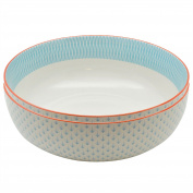 Large Patterned Fruit / Salad Bowl - Light Blue & Coral / Orange Aztec Design - 284mm - Box of 2