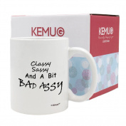 KeMug - Classy Sassy Bad Assy Funny Coffee Cups - Birthday Gift Idea for Her, Mother's Day Gift for Mom - 330ml, Ceramic