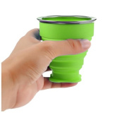 Philna12 190ML Camping Travel Silicone Foldable Mug Collapsible Water Cup with Lid