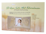 BRUBAKER 3D Casting Kit with White Picture Frame 42cm x 19cm for Hand Print, Foot Print and Baby Photo