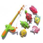 Aokbi Baby Girl Boy Kids Rod and Reel Fishing Bath Toy Set Magnetic Fishing Playset with 7 Fishes and 1 Pole