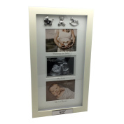 PERSONALISED TRIPLE BABY SCAN PHOTO FRAME GIFT WITH 3D ICONS BABY SHOWER