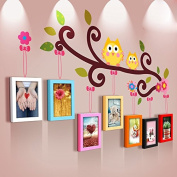 NAUY- Pastoral Wind Cartoon Children Photo Frame Creative Solid Wood Photo Wall Frame Wall Irregular Wall Frame Combination DIY Wild Living Room Dining Room Bedroom Frame Wall