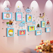 NAUY- Multi-colour Mix And Match Frame Wall Children's Cartoon Photo Wall Creative Solid Wood Frame Wall Stickers DIY Wild Living Room Dining Room Bedroom Frame Wall