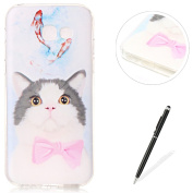 Samsung Galaxy A320 Case,MAGQI Durable Silicone Rubber Skin Back Cover Ultra Thin Gel TPU Bumper Case [Crystal Clear] with Fashionable Pattern Design Sockproof Anti-Scratch Drop Protection Protector Transparent Jelly Shell [Free Stylus Pen] for Samsung ..