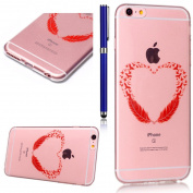 FESELE iPhone 6 Case,iPhone 6S Transparent TPU Case, Ultra-Thin [Drop Protection] Shock Resistant Soft Gel TPU Bumper Case Cover for iPhone 6/6S with Free Stylus Pen-Red feather