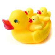 Berry President(TM) 4pc Novelty Yellow Rubber Ducks Ducky Floating Bath Toys- Large Rubber Duck with 3 Mini Rubber Duck Toys - Family of Ducks for Child