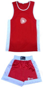 Prime Sports Kids Boxing Uniform 2 Pices Set (Top & Short) Red-white Colour Junior Ages 05 Till 12 Years