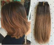 Short 25cm Full head clip in 100% human hair extensions Ombre